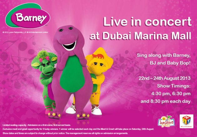 Come Meet Barney at Dubai Marina Mall and Join the Celebration