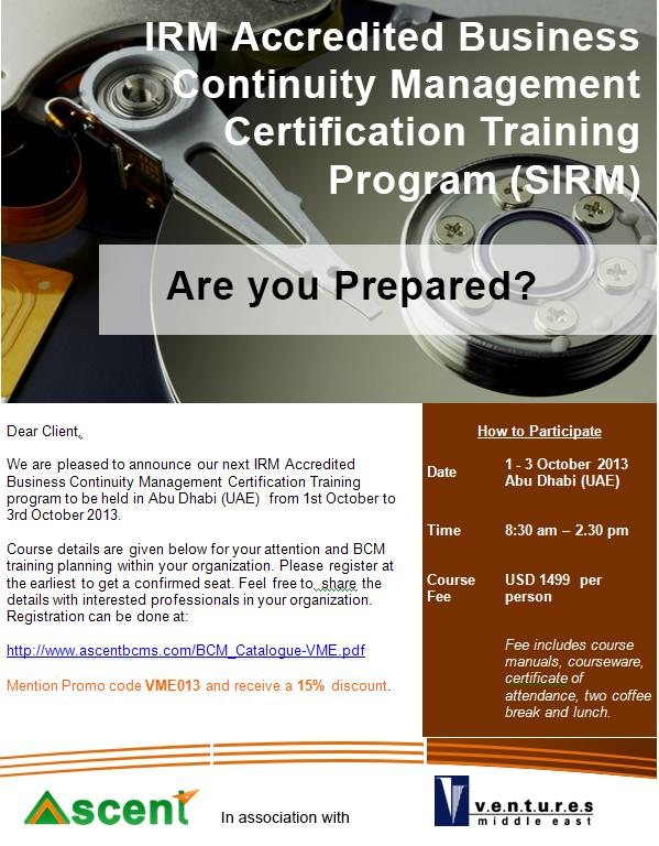 BCM Certification Program - IRM Accredited