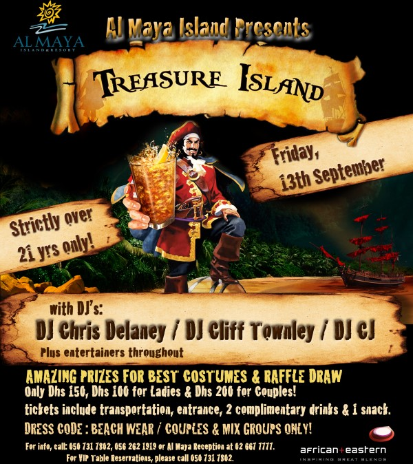 TREASURE ISLAND BEACH PARTY @ Al Maya – Sept 13th!