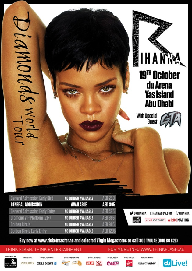DON'T MISS OUT! Only a few weeks until Rihanna's Diamonds World Tour in UAE