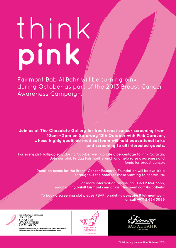Think Pink! Free Breast Cancer Screening on Oct 12 at Fairmont Bab Al Bahr