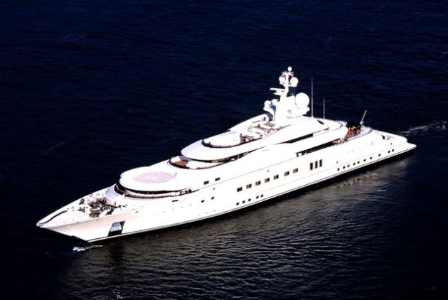 Valued at $1 billion, Eclipse owned by Russian businessman Roman Abramovich tops the Wealth‐X list. The 536 foot-long yacht was launched in 2010 and until last year had the distinction of being the world's longest superyacht.