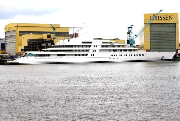 In second is Azzam, the 590 foot-long yacht owned by Sheikh Khalifa Bin Zayed Al Nahyan, President of the UAE and the ruler of Abu Dhabi. Azzam sailed into second place with $600 million price tag.