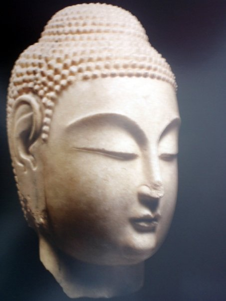 Head of Buddha North China (from Henan to Shandong), Northern Qi Dynasty (550-577 AD) White marble