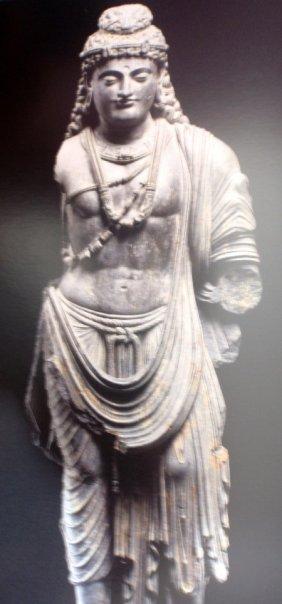 Standing Bodhisattva (Maitreya) Gandhara region (present Pakistan), perhaps Takht-Bahi or Sahri-Bahlol, 2nd-3rd century AD Schiste